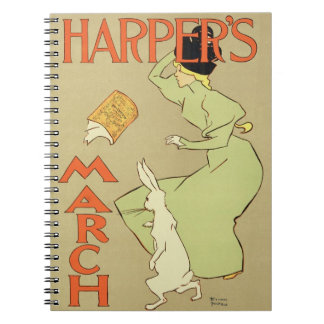 Reproduction of a poster advertising 'Harper's Mag Spiral Notebooks