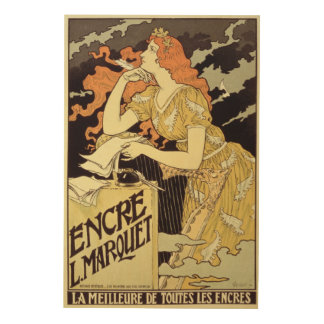 Reproduction of a poster advertising 'Marquet Ink' Wood Canvases