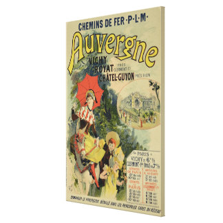 Reproduction of a poster advertising the 'Auvergne Canvas Print