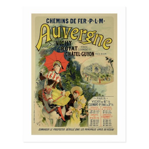 Reproduction of a poster advertising the 'Auvergne Post Cards