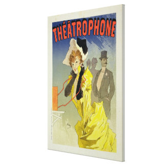 Reproduction of a poster advertising 'Theatrophone Canvas Print