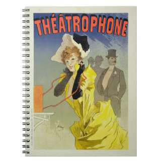 Reproduction of a poster advertising 'Theatrophone Spiral Note Book