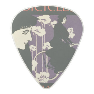 Reproduction of a poster advertising 'Victor Bicyc Acetal Guitar Pick