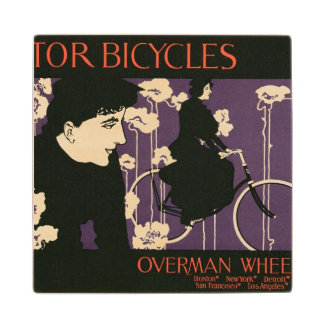 Reproduction of a poster advertising 'Victor Bicyc Wood Coaster