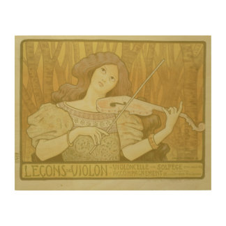 Reproduction of a poster advertising 'Violin Lesso Wood Print
