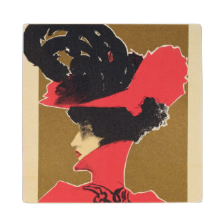 Reproduction of a poster advertising 'Zlata Praha' Wood Coaster
