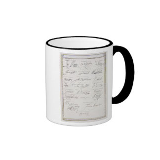 Reproduction of Signatures of the Tudors and their Ringer Mug