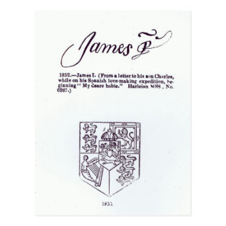 Reproduction of the signature of James VI and Postcard