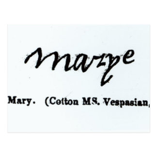Reproduction of the signature of Mary I Postcard
