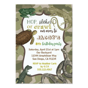 Vintage birthday invitations zazzle reptile animal vintage birthday invitation stopboris Choice Image