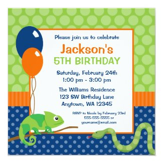 Reptile Polka Dot Kids Birthday Invitation