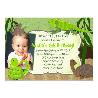 "Reptile Themed Birthday Party Invitation 5"" X 7"" Invitation Card"
