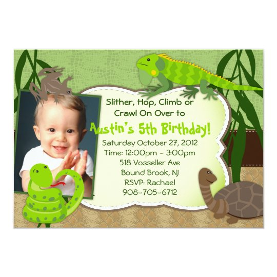 Reptile Themed Birthday Party Invitation