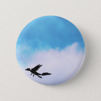 Reptilian Bird Dragon and Clouds Fantasy Art 6 Cm Round Badge