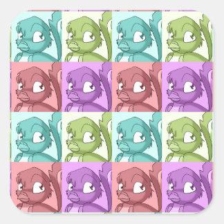 Reptilian Bird Pop Art Pattern Square Sticker