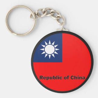 Republic Of China Roundel quality Flag Basic Round Button Key Ring
