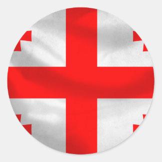 Republic of Georgia Flag Round Stickers