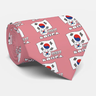 Republic of Korea (South) Soccer Ball and Flag Tie