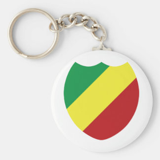 Republic of the Congo Basic Round Button Key Ring