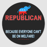 Republican because... classic round sticker