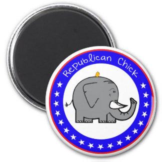 republican chick 6 cm round magnet