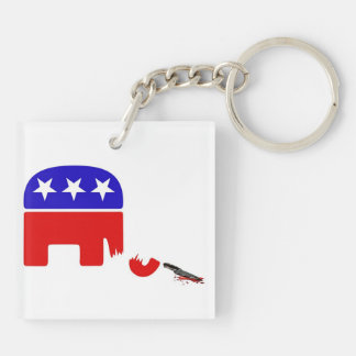 Republican Elephant Double-Sided Square Acrylic Key Ring