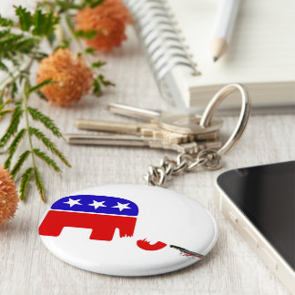 Republican Elephant Basic Round Button Key Ring