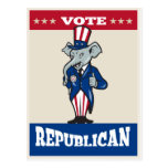 Republican Elephant Mascot Thumbs Up USA Flag Postcard