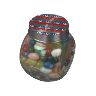REPUBLICAN ELEPHANT PATTERN png Glass Candy Jars