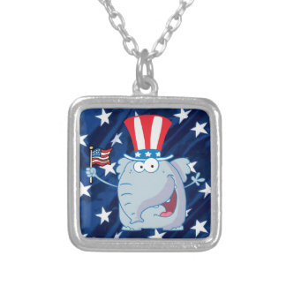 republican elephant tophat necklace
