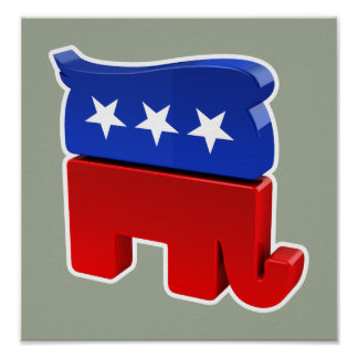 Republican Elephant with Trump Hair Poster