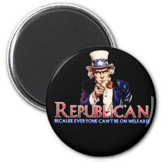 Republican, Not On Welfare 6 Cm Round Magnet