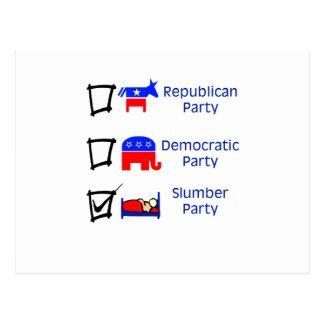 Republican Party, Democratic Party, Slumber Party Postcard
