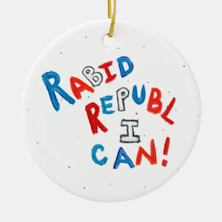 Republican passionate rabid supporter fun word art Double-Sided ceramic round christmas ornament