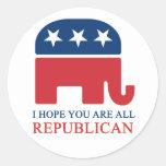 republican round sticker