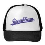 Republican Script Logo Simple Blue Hats