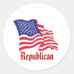 Republican/USA/American Flag Classic Round Sticker