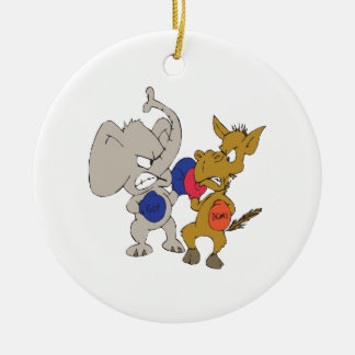 Republican Vs Democrat Double-Sided Ceramic Round Christmas Ornament