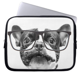 Reputable French Bulldog with Glasses Laptop Sleeve