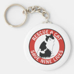 Rescue a Cat, Save Nine Lives Keychains