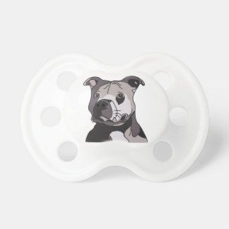 Rescue American Bulldog Pit Bull Terrier Portrait Baby Pacifiers