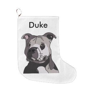 Rescue American Bulldog Pit Bull Terrier Portrait Large Christmas Stocking