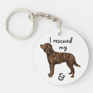 Rescue American Water Spaniel Double-Sided Round Acrylic Key Ring