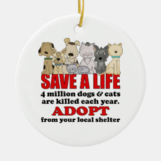 Rescue Animals Double-Sided Ceramic Round Christmas Ornament