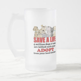 Rescue Animals 16 Oz Frosted Glass Beer Mug