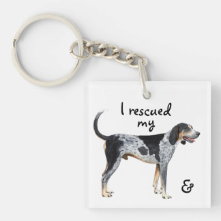 Rescue Bluetick Coonhound Double-Sided Square Acrylic Key Ring