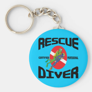 Rescue Diver Basic Round Button Key Ring