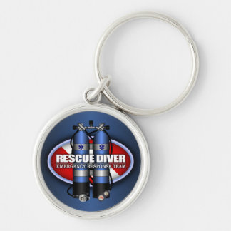 Rescue Diver (ST) Silver-Colored Round Key Ring