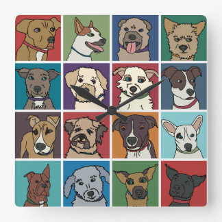 Rescue Dog Cartoon Square Wall Clock