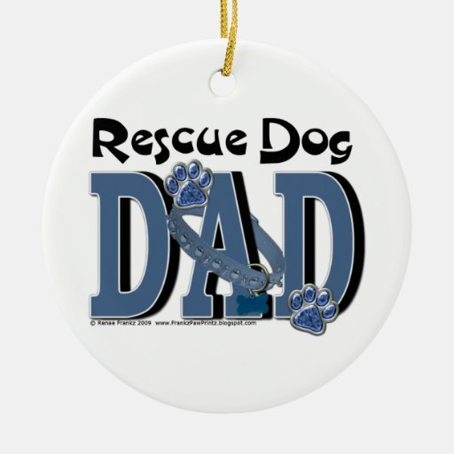 Rescue Dog DAD Christmas Tree Ornaments
